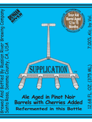"""Russian River Brewing """"Supplication"""" Sour 375ml."""