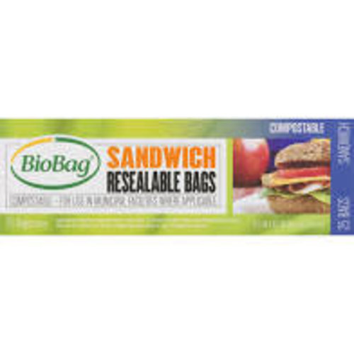 BioBag Sandwich Bags, Resealable, Compostable, 25 count