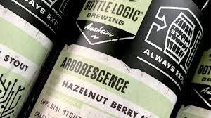 "Bottle Logic Brewing ""Arborescence"" Hazelnut Berry Stout 16.9oz bottle- Anaheim, CA"