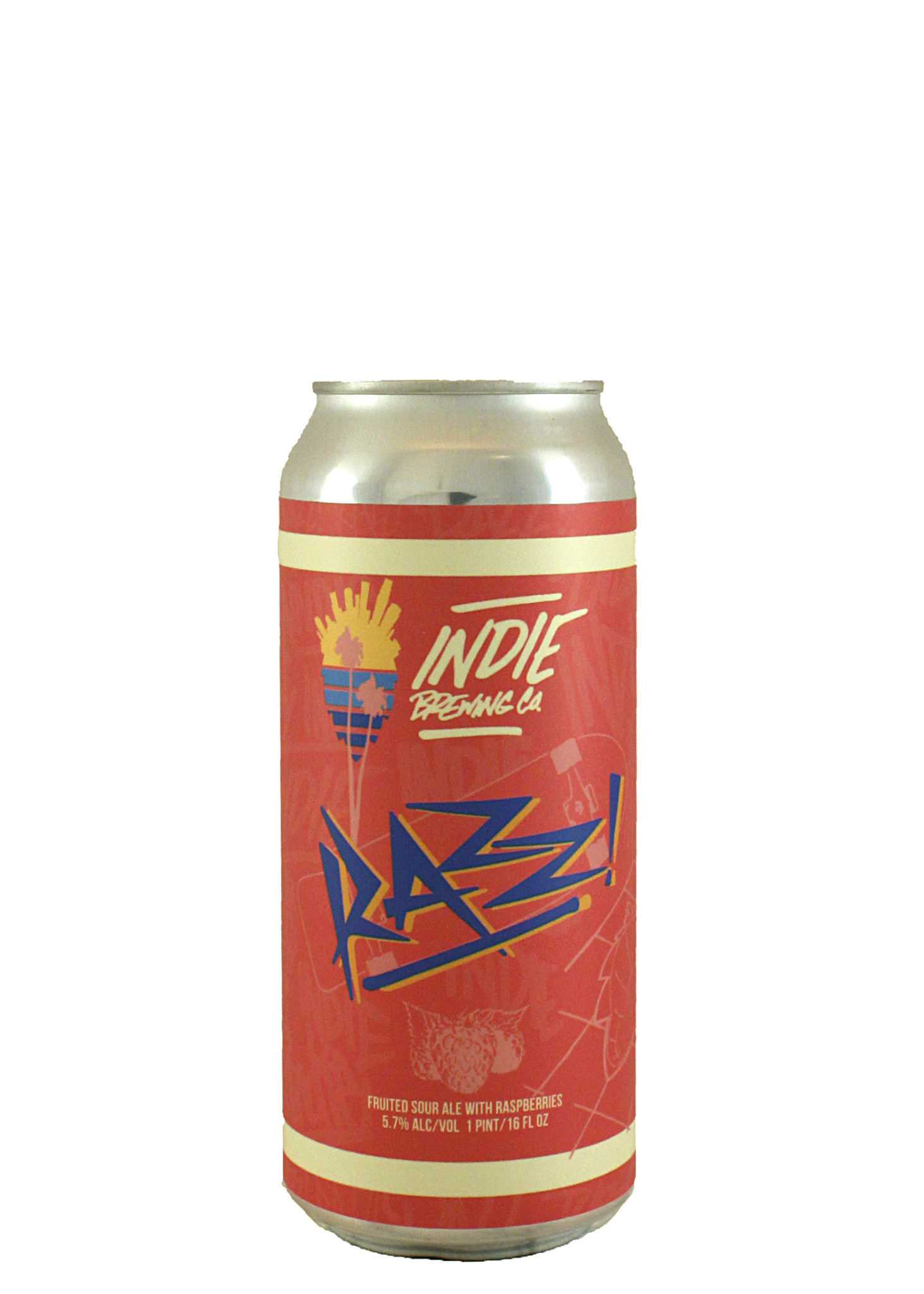 "Indie Brewing ""Razz!"" Fruited Sour Ale w/ Raspberries 16oz. Can - Los Angeles, CA"