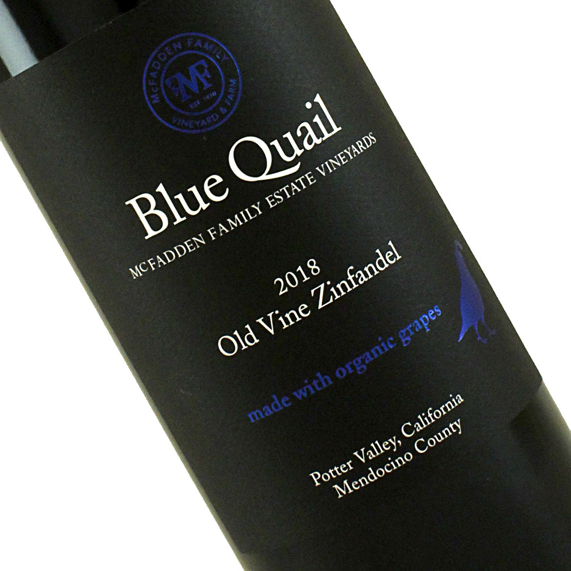 Blue Quail 2018 Old Vine Zinfandel Potter Valley, Mendocino County
