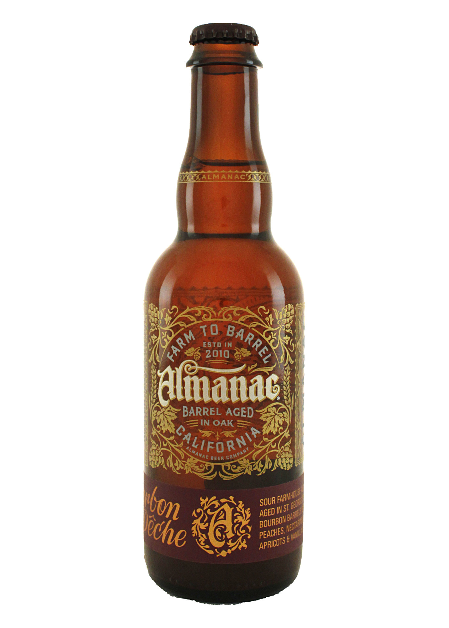 Almanac Beer Company Bourbon Barrel Peche Sour 375ml. Alameda, CA