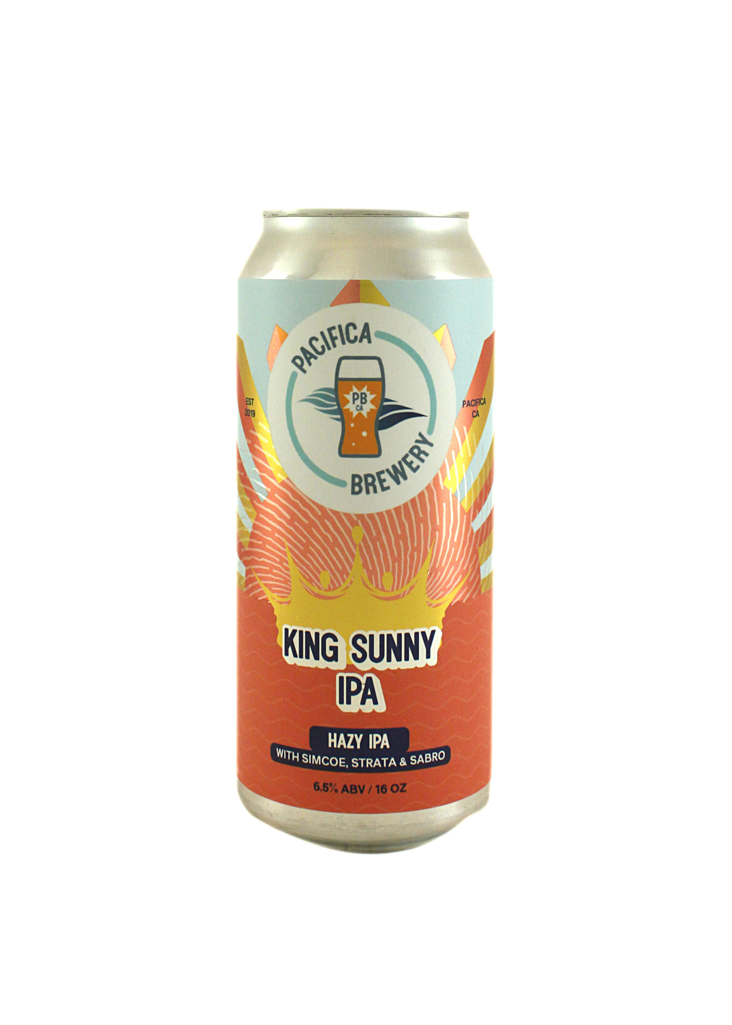 """Pacifica Brewery """"King Sunny IPA"""" Hazy IPA 16oz can- Pacifica, CA"""