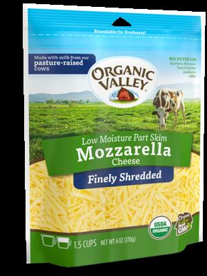 Organic Valley, Finely Shredded Mozzarella, 6 oz