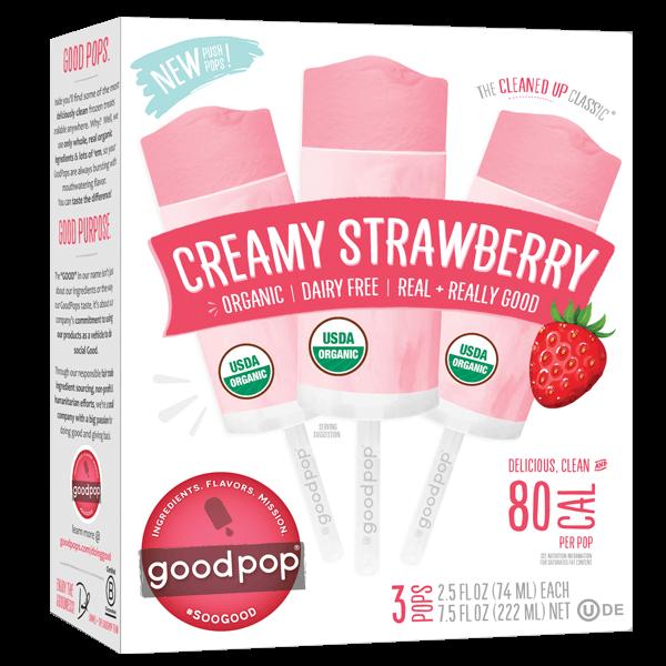 Goodpop, Creamy Strawberry Non-Dairy Push Pops