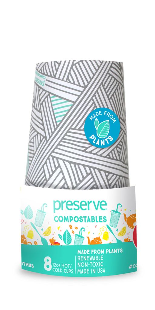 Preserve Compostables 12 oz. Hot/Cold Cup, 8 Count, Natural
