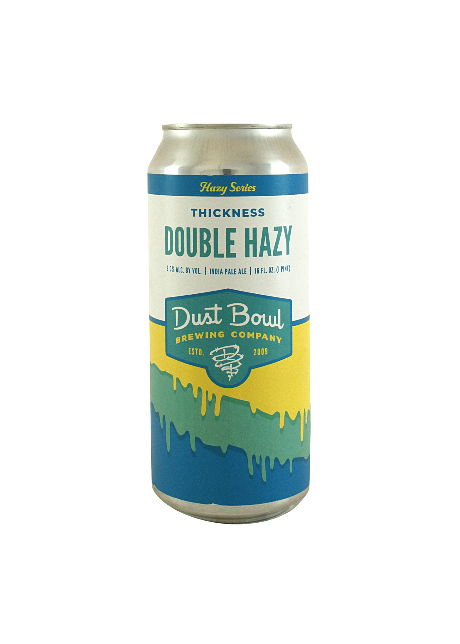 """Dust Bowl Brewing """"Thickness"""" Double Hazy IPA 16 oz, can - Turlock, CA"""