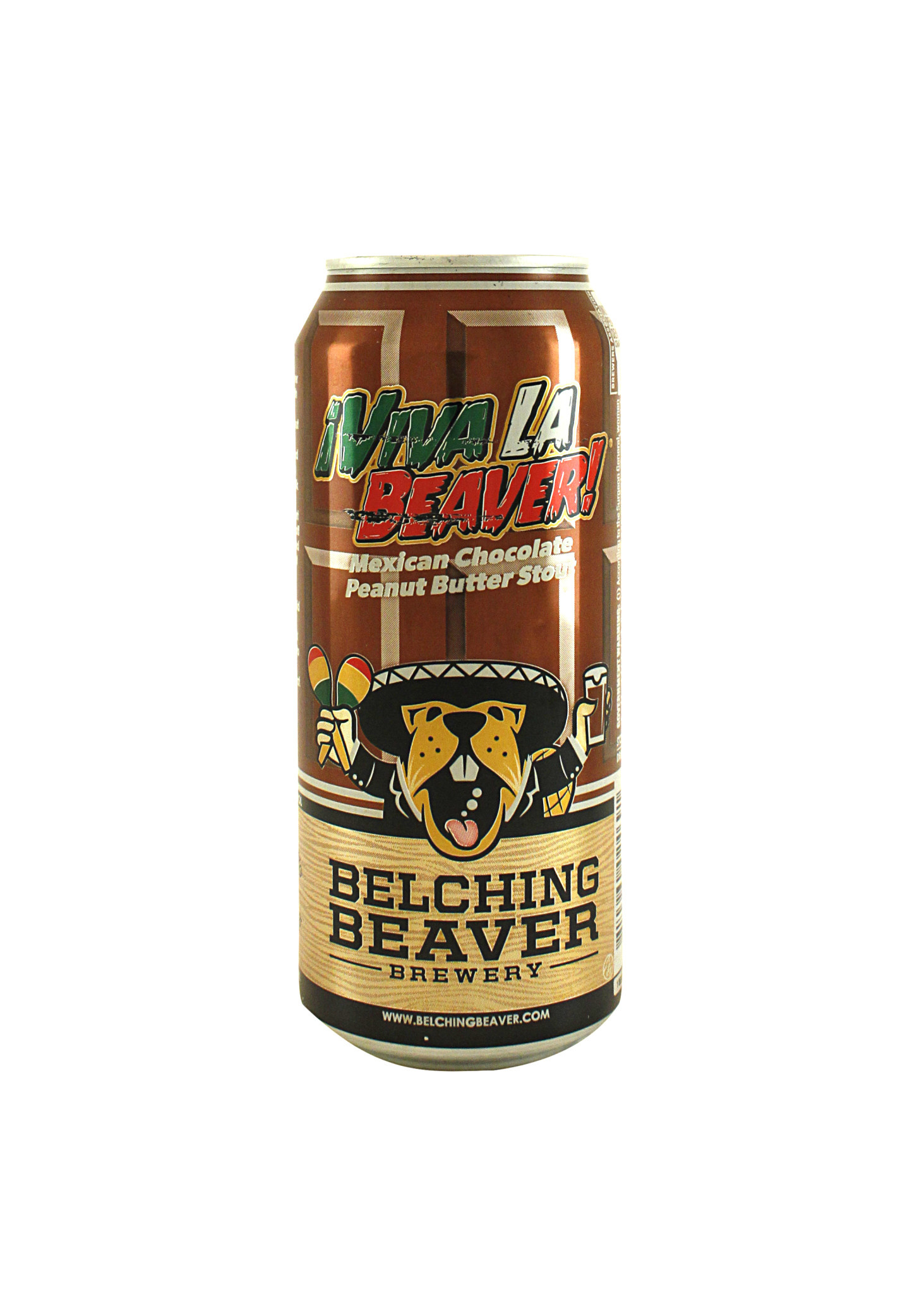 """Belching Beaver Brewery """"Viva La Beaver!"""" Mexican Chocolate Peanut Butter Stout 16oz. Can - Oceanside, CA"""