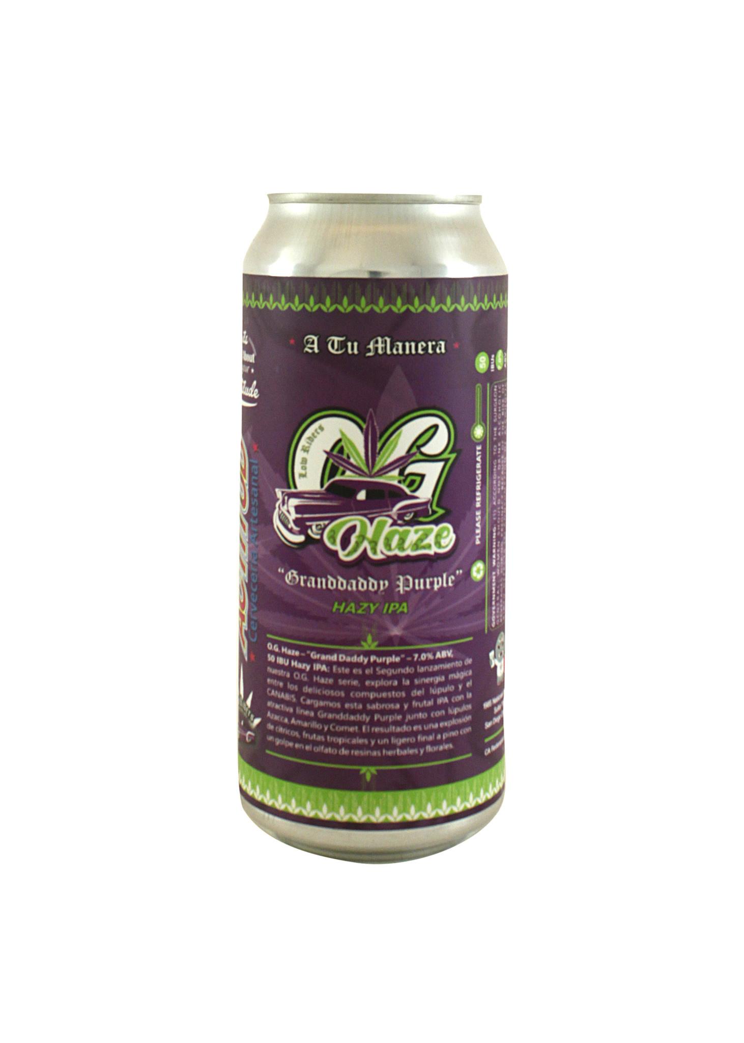 "Attitude Brewing ""OG Haze Grandaddy Purple"" Hazy IPA 16oz. Can - San Diego, CA"