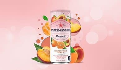San Pellegrino, Momenti, Clementine & Peach Sparkling Drink, 11.15 fl oz.