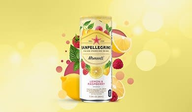 San Pellegrino, Momenti, Lemon & Raspberry Sparkling Drink, 11.15 fl oz.