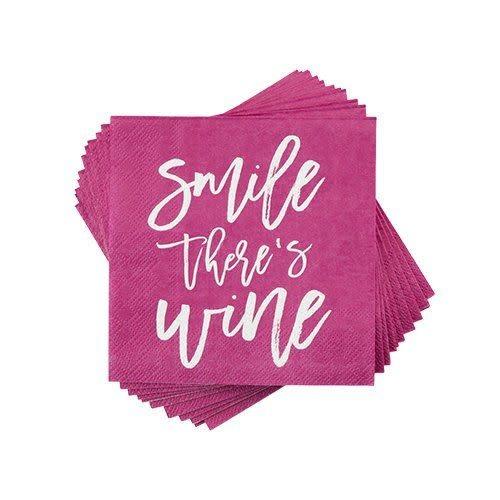 Napkin - Smile There's Wine
