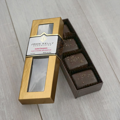 John Kelly 4 Pc, Semi-Sweet Chocolate Coated Salted Caramels with Applewood Smoked Salt