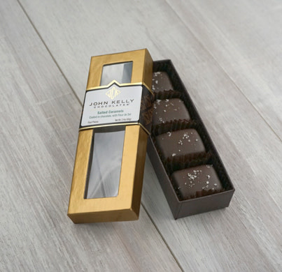 John Kelly 4 Pc. Semi-Sweet Chocolate Coated Salted Caramels with Fleur de Sel