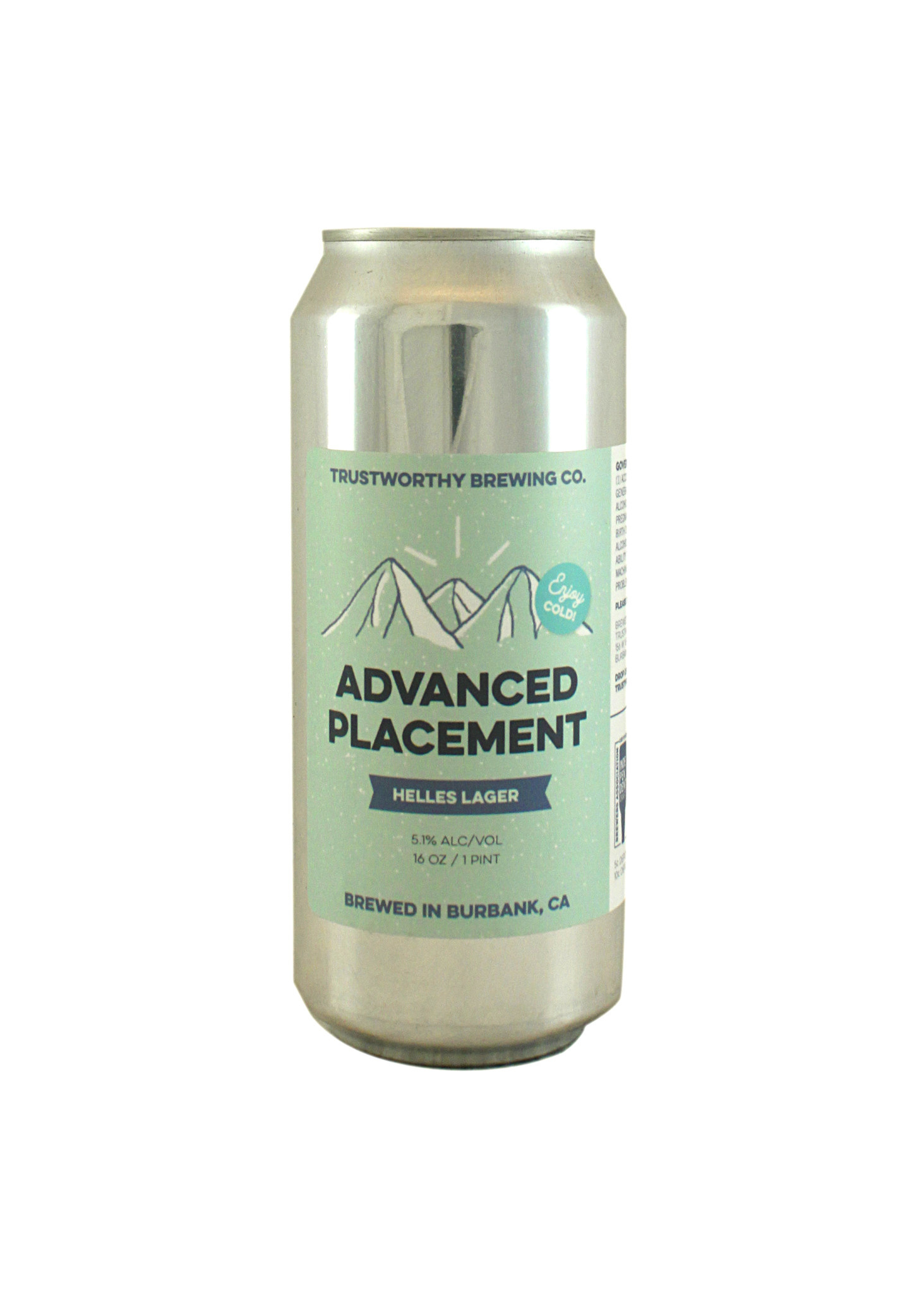 """Trustworthy Brewing """"Advanced Palcement"""" Helles Lager 16oz. can - Burbank, CA"""