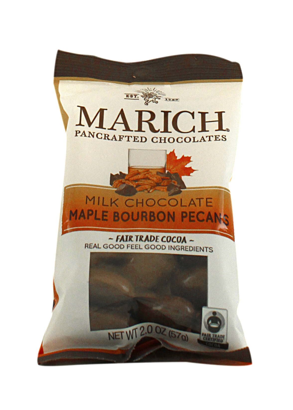Marich Milk Chocolate Maple Bourbon Pecans, 2.1 oz