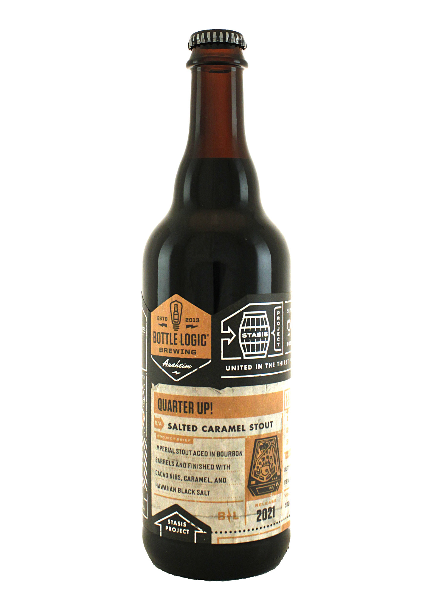 "Bottle Logic Brewing ""Quarter Up!"" Salted Caramel Stout 500ml. bottle - Anaheim, C A"