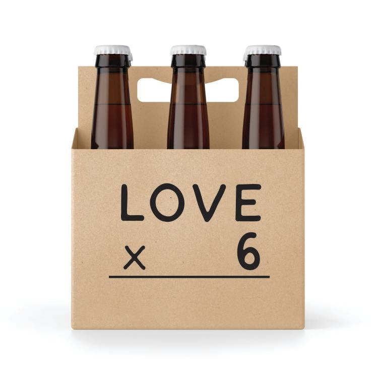Six-Pack Holder, Cardboard - Love X 6