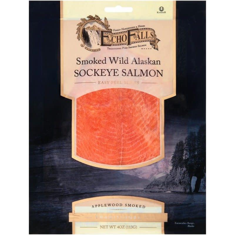 Echo Falls Sliced Applewood Smoked Wild Alaskan Sockeye Salmon, 4 oz