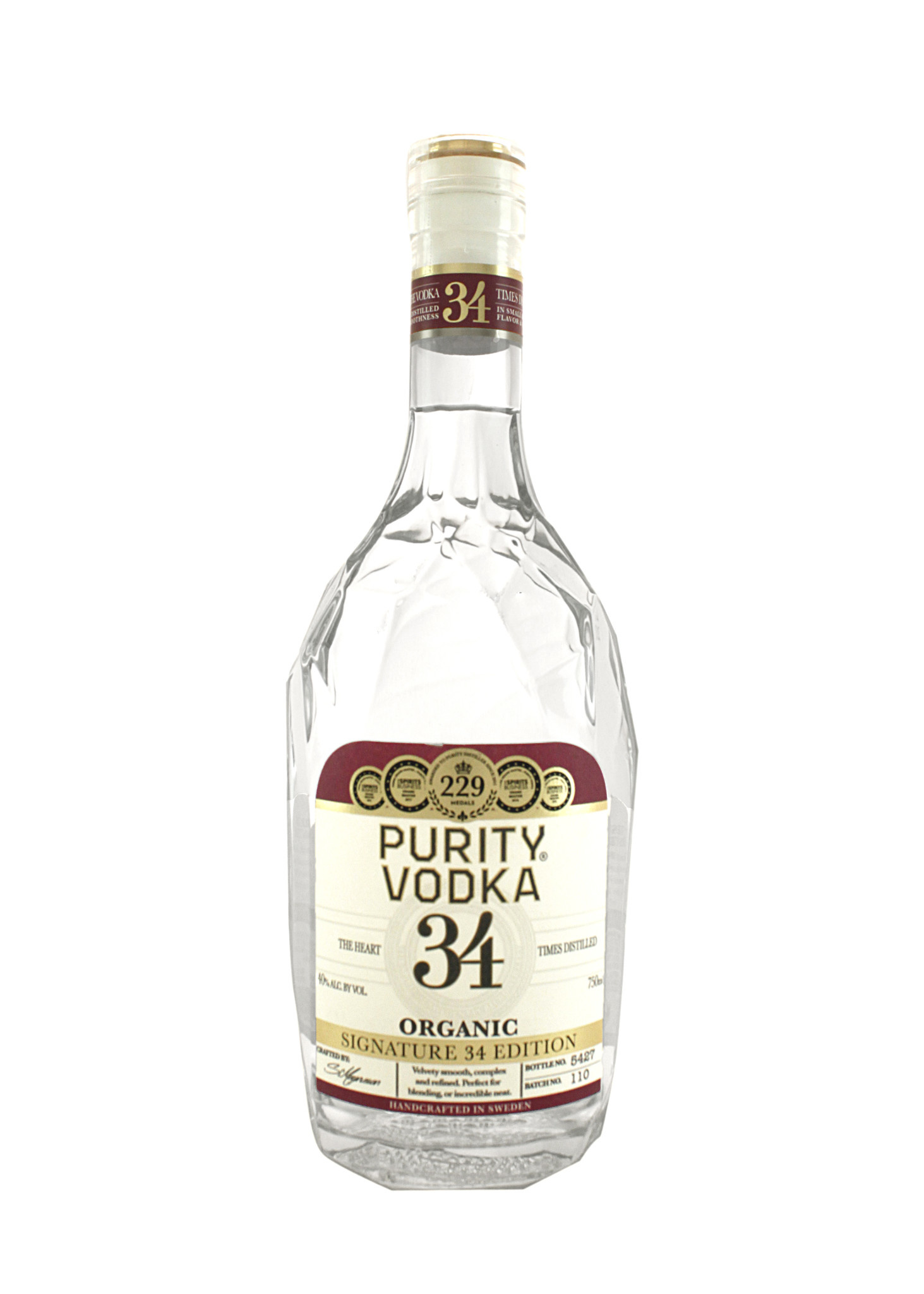 Purity Ultra 34 Times Distilled Premium Organic Vodka, Malmo, Sweden