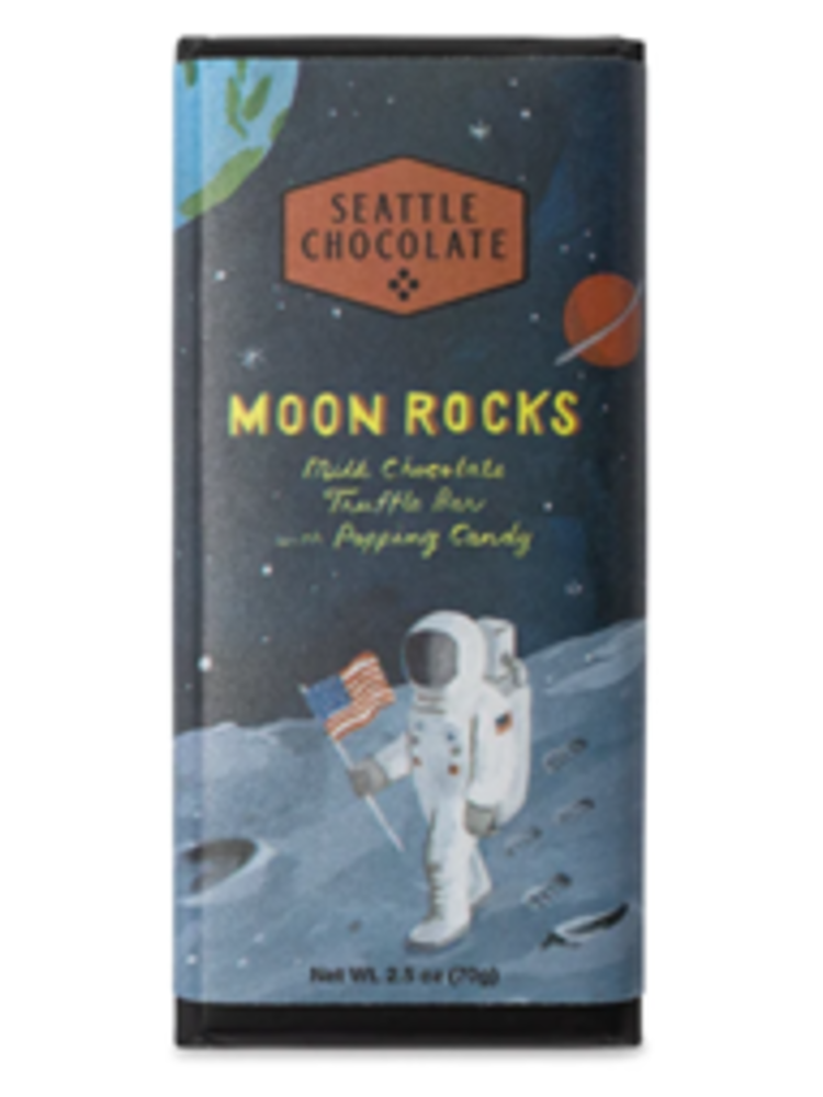 Seattle Chocolate Moon Rocks Milk Chocolate Truffle Bar with Popping Candy