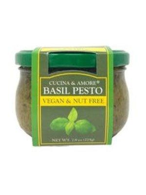 Cucina & Amore Basil Pesto, Vegan & Nut Free, 7.9 oz, San Francisco