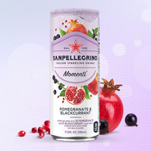 San Pellegrino, Momenti, Pomegranate & Blackcurrant Sparkling Drink, 11.15 fl oz.