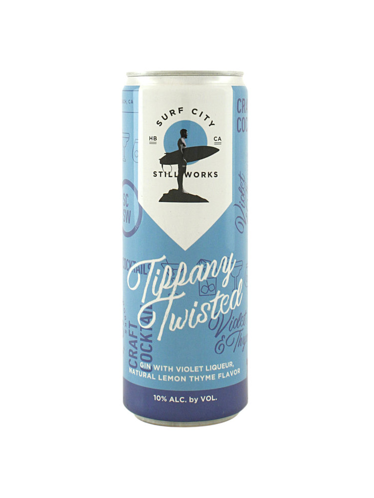 "Surf City Still Works ""Tiffany Twisted"" Craft Cocktail Gin w/Violet Liqueur 12oz. can"