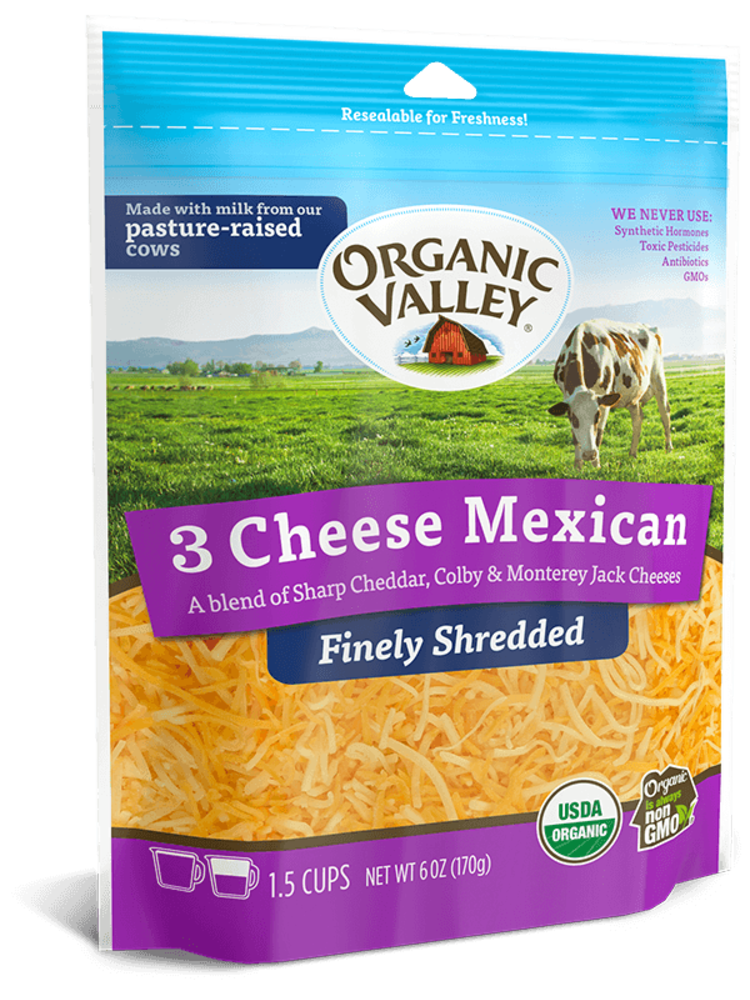 Organic Valley, Shredded 3 Cheese Mexican Blend