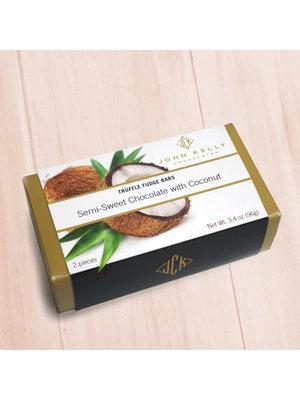 John Kelly 2 Pc  Semi-Sweet Chocolate with Coconut Truffle Fudge, Los Angeles 3.4 oz