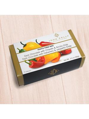 John Kelly 2 Pc  Dark Chocolate with Chipotle & Ancho Chile and Habanero & Jalapeno Chile Truffle Fudge, Los Angeles 3.4 oz