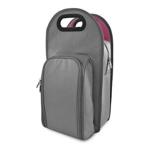 Metro 2-Bottle Tote in Gray & Pink