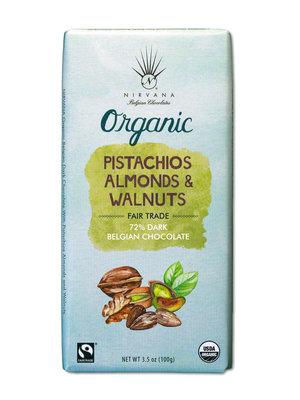 Nirvana Organic Dark Chocolate Bar with Pistachios, Almonds & Walnuts, 3.5 oz