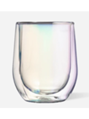 Corkcicle Double-Walled Stemless Prism Wine Glasses, Set of 2, 12 oz each