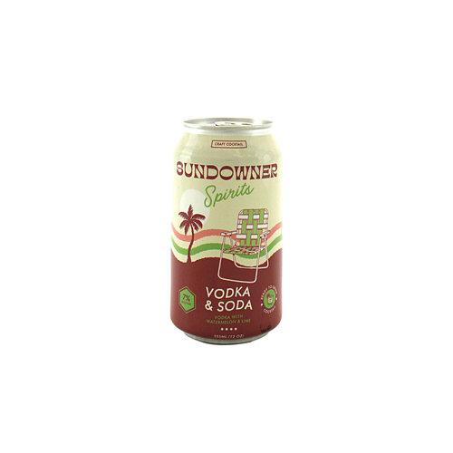 Sundowner Spirits Vodka & Soda with Watermelon & Lime 12oz can, Ventura, CA