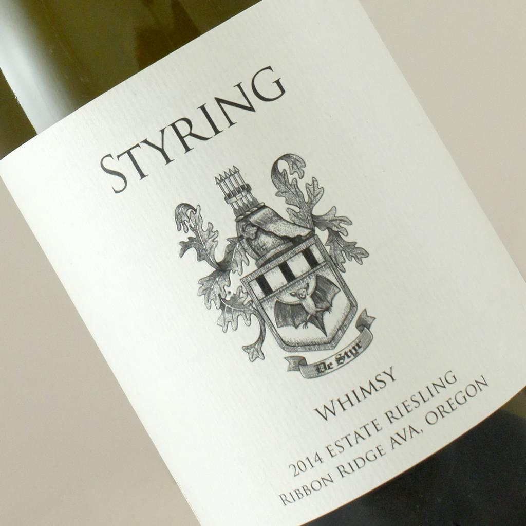 "Styring 2014 Estate Riesling ""Whimsy"", Ribbon Ridge Ava, Oregon"
