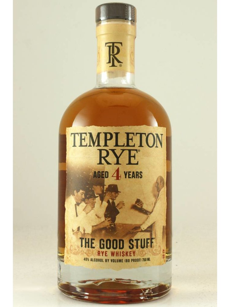 """Templeton Rye Whiskey """"The Good Stuff"""" Aged 4 Years"""