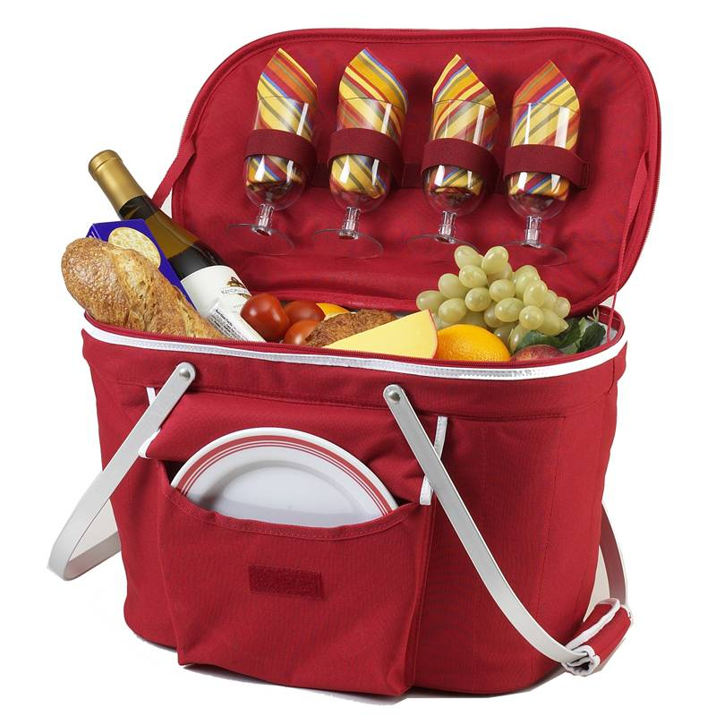 Picnic at Ascot Collapsible Cooler Picnic Tote Red