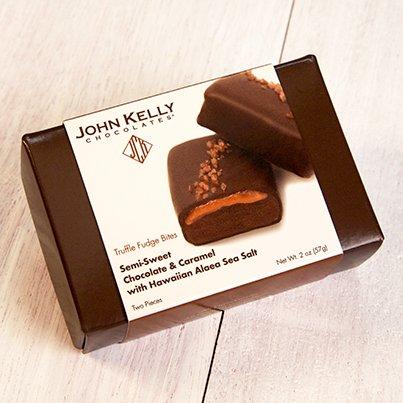 John Kelly Bite 2 piece Semi Sweet Chocolate Caramel & Hawaiian Sea Salt Truffle Fudge, Los Angeles 2oz.