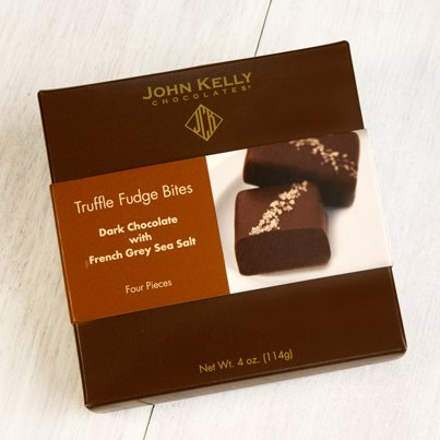 John Kelly Bite 4 pc Dark Chocolate with French Gray Sea Salt Truffle Fudge, Los Angeles