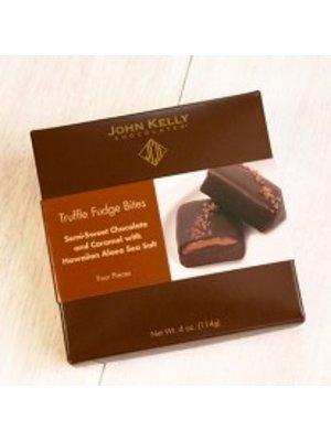 John Kelly Bite 4 pc Semi-Sweet Chocolate with Caramel and Hawaiian Sea Salt Truffle Fudge, Los Angeles, 4oz