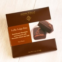 John Kelly Bite 4 pc Semi-Sweet Chocolate with Caramel and Hawaiian Sea Salt Truffle Fudge, Los Angeles, 4oz