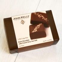 John Kelly Bite 2 Pc Dark Chocolate with French Gray Sea Salt Truffle Fudge, Los Angeles 2oz