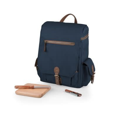 """Picnic Time """"Moreno"""" Three Bottle Backpack Wine & Cheese Tote, Navy"""