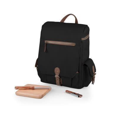 """Picnic Time """"Moreno"""" Three Bottle Backpack Wine & Cheese Tote, Black"""
