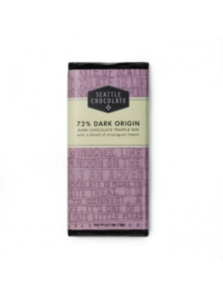 Seattle Chocolate 72% Dark Origin Chocolate Truffle Bar