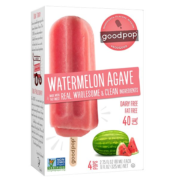 Goodpop Watermelon Agave Frozen Bars, Austin, Texas 4 pack