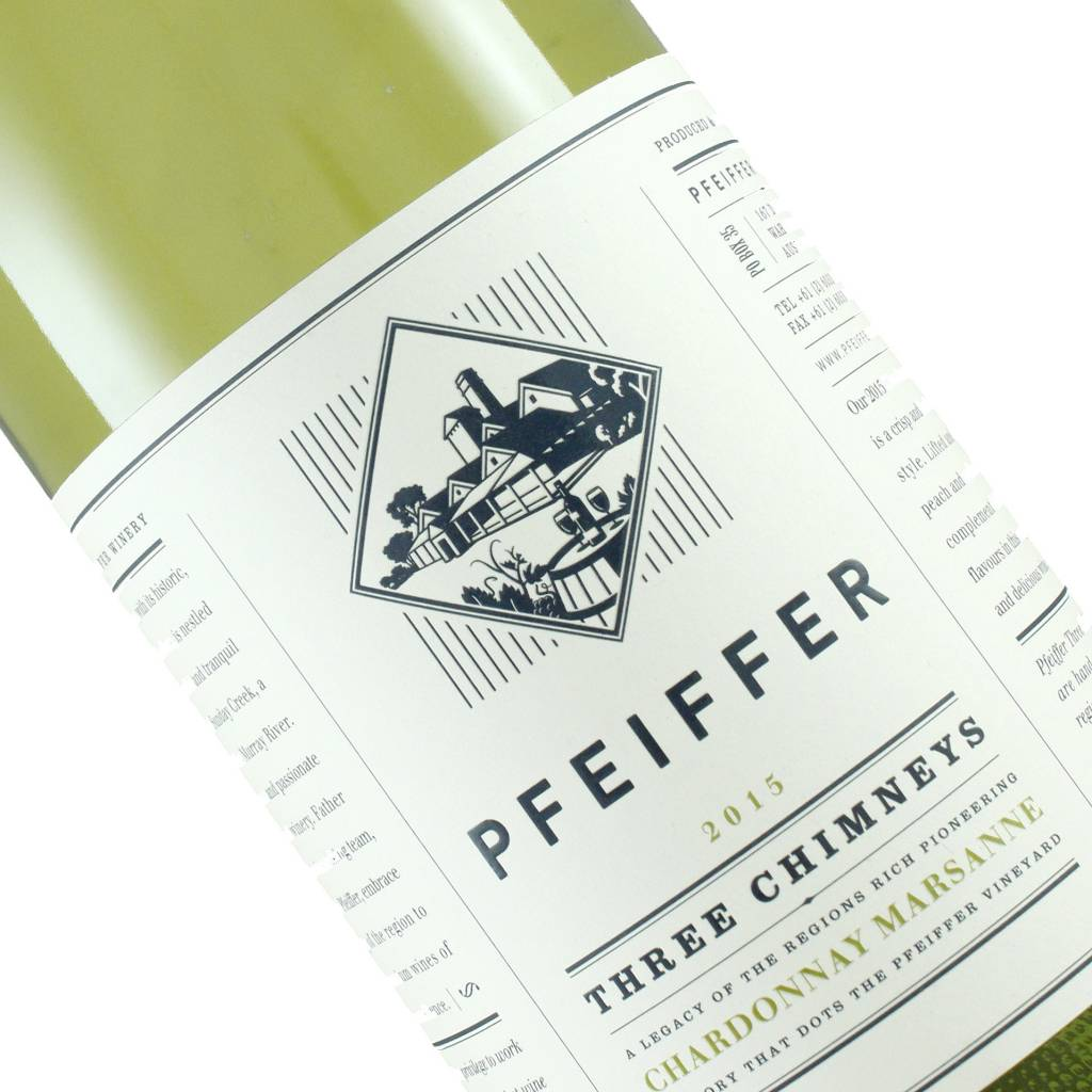 "Pfeiffer 2015 ""Three Chimneys"" Chardonnay Marsanne White Wine Blend, Australia"