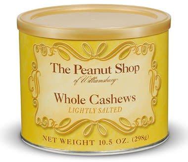 The Peanut Shop Whole Cashews, Williamsburg Virginia, 10.5 ounce can