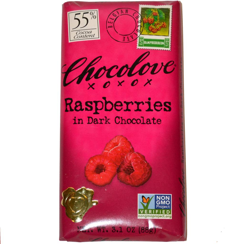 Chocolove Raspberries Dark Chocolate Bar, Boulder